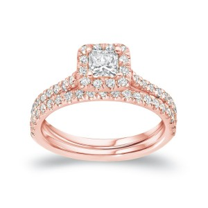 Rose Gold 1ct TDW Certified Princess Diamond Halo Bridal Ring Set - Custom Made By Yaffie™