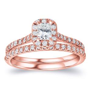 Rose Gold 1ct TDW Certified Radiant Diamond Halo Bridal Ring Set - Custom Made By Yaffie™