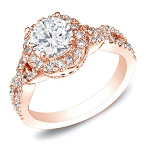 Rose Gold 1ct TDW Certified Round Cut Diamond Engagement Ring - Custom Made By Yaffie™