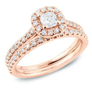 Rose Gold 1ct TDW Cushion Diamond Halo Bridal Ring Set - Custom Made By Yaffie™