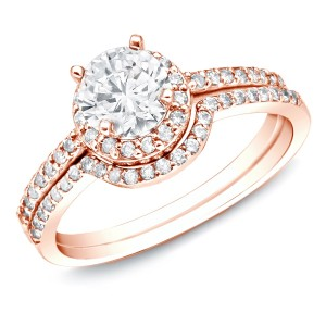 Rose Gold 1ct TDW Diamond Bridal Ring Set - Custom Made By Yaffie™