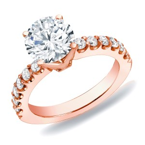 Rose Gold 1ct TDW Diamond Solitaire Engagement Ring - Custom Made By Yaffie™