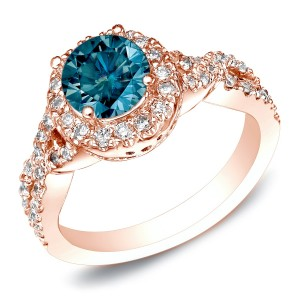 Rose Gold 1ct TDW Round Blue Diamond Halo Braided Engagement Ring - Custom Made By Yaffie™