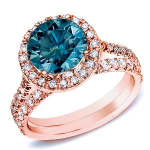 Rose Gold 1ct TDW Round Diamond Halo Bridal Ring Set - Custom Made By Yaffie™