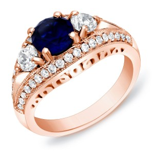 Rose Gold 1ct TDW Sapphire and Diamond Engagement Ring - Custom Made By Yaffie™