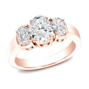 Rose Gold 2 1/3ct TDW Certified Three Stone Diamond Ring - Custom Made By Yaffie™