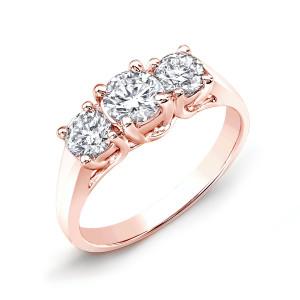 Rose Gold 2ct TDW Round Diamond 3-stone Engagement Ring - Custom Made By Yaffie™