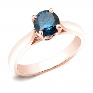 Rose Gold 3/4ct TDW Blue Diamond Solitaire Engagement Ring - Custom Made By Yaffie™