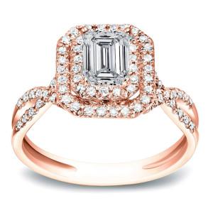 Rose Gold 4/5 ct TDW Emerald Halo Diamond Engagement Split Shank Ring - Custom Made By Yaffie™