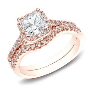 RoseGold 1 1/5ct TDW Princess-Cut Diamond Halo Engagement Wedding Ring Set - Custom Made By Yaffie™