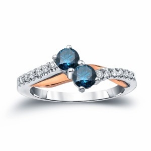 Two-Tone Gold 1/2ct TDW 2-Stone Round Cut Blue Diamond Engagement Ring - Custom Made By Yaffie™