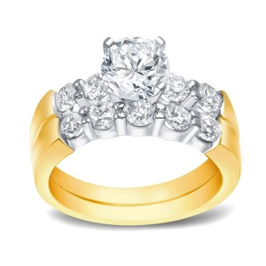 Two-Tone Gold 2ct TDW Certified Round Cut Diamond Bridal Ring Set - Custom Made By Yaffie™