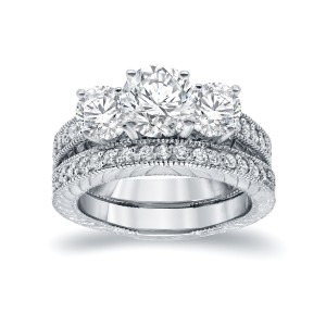 White Gold 1 1/2ct Certified 3-stone Filigree Bridal Ring Set - Custom Made By Yaffie™