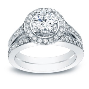 White Gold 1 1/2ct TDW Certified Diamond Bridal Ring Set - Custom Made By Yaffie™