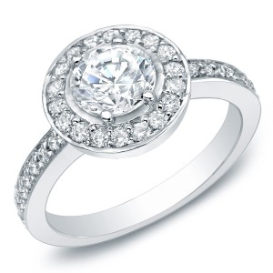 White Gold 1 1/2ct TDW Certified Diamond Halo Engagement Ring - Custom Made By Yaffie™