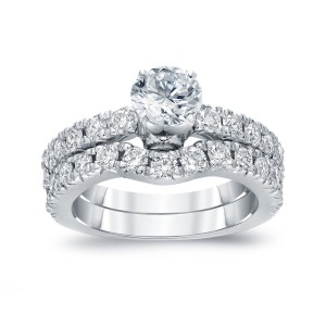White Gold 1 1/2ct TDW Certified Round-cut Diamond Bridal Ring Set - Custom Made By Yaffie™