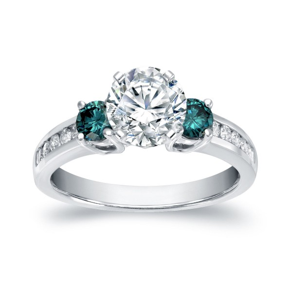 White Gold 1 1/2ct TDW Round Cut White and Blue Diamond Engagement Ring - Custom Made By Yaffie™