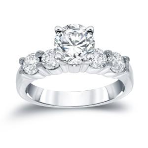 White Gold 1 1/2ct TDW Round Diamond Five-Stone Engagement Ring - Custom Made By Yaffie™