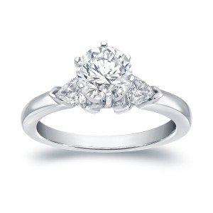 White Gold 1 1/3 ct TDW 3-stone Diamond Engagement Ring - Custom Made By Yaffie™