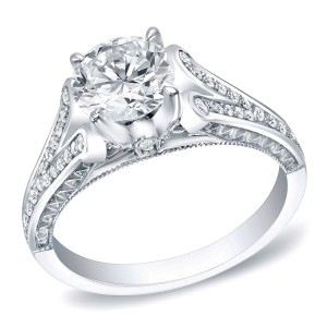 White Gold 1 1/4ct TDW Certified Round Diamond Bridal Ring - Custom Made By Yaffie™