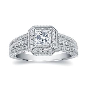 White Gold 1 1/4ct TDW Princess Diamond Engagement Ring - Custom Made By Yaffie™