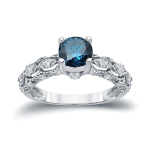 White Gold 1 1/4ct TW Blue and White Diamond Engagement Ring - Custom Made By Yaffie™