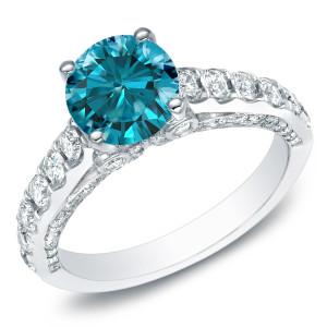 White Gold 1 3/4ct TDW Round Blue Diamond Engagement Ring - Custom Made By Yaffie™