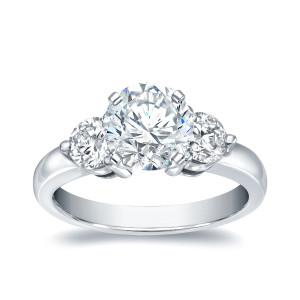 White Gold 1 3/4ct TDW Round Diamond Three Stone Ring - Custom Made By Yaffie™
