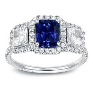 White Gold 1ct Blue Sapphire and 1 1/4ct TDW Halo Diamond Ring - Custom Made By Yaffie™