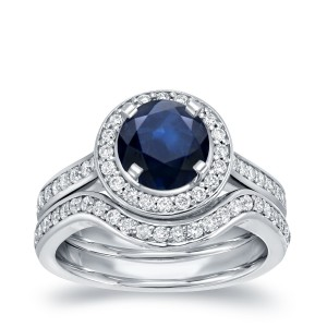 White Gold 1ct Blue Sapphire and 1/2ct TDW Round Diamond Bridal Ring Set - Custom Made By Yaffie™