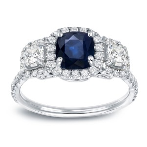 White Gold 1ct Blue Sapphire and 1ct TDW Diamond Enggaement Ring - Custom Made By Yaffie™