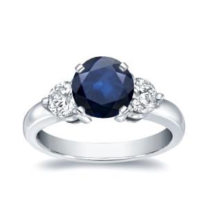 White Gold 1ct Blue Sapphire and 3/4ct TDW Diamond Three Stone Ring - Custom Made By Yaffie™