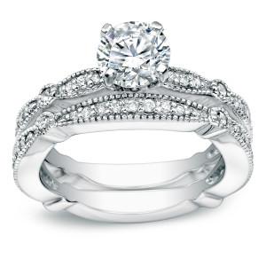 White Gold 1ct TDW Certified Round Diamond Bridal Ring Set - Custom Made By Yaffie™