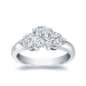 White Gold 1ct TDW Diamond 3 Stone Engagement Ring - Custom Made By Yaffie™