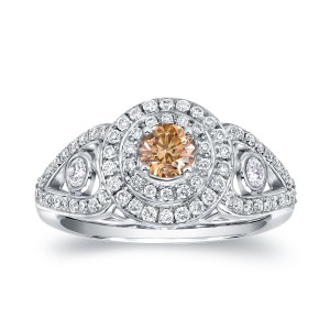 White Gold 1ct TDW Natural Fancy Intense Yellow Round Diamond Engagement Ring - Custom Made By Yaffie™