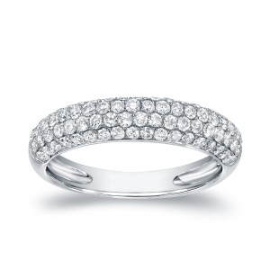 White Gold 1ct TDW Round Cut Diamond Multi- Row Pave Ring - Custom Made By Yaffie™