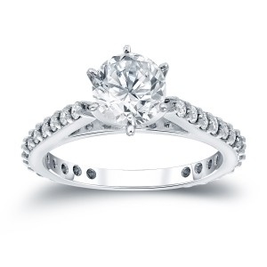 White Gold 1ct TDW Round Diamond Solitaire Ring - Custom Made By Yaffie™