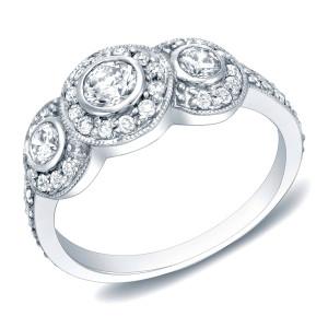 White Gold 1ct TDW Vintage Three-stone Diamond Ring - Custom Made By Yaffie™