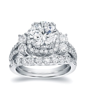 White Gold 2 1/3ct TDW Certified Diamond Halo Engagement Ring Set - Custom Made By Yaffie™