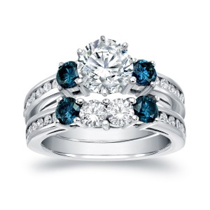 White Gold 2 3/4ct TDW Certified Round Cut White and Blue Diamond Bridal Ring Set - Custom Made By Yaffie™