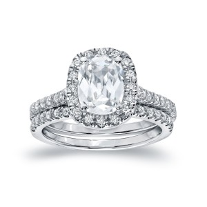 White Gold 2ct TDW Certified Cushion-cut Diamond Bridal Ring Set - Custom Made By Yaffie™
