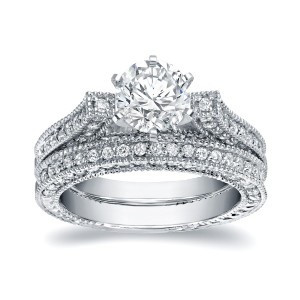 White Gold 2ct TDW Certified Round Cut Diamond Bridal Ring Set - Custom Made By Yaffie™
