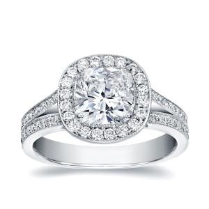 White Gold 2ct TDW Cushion-cut Diamond Ring - Custom Made By Yaffie™