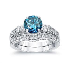 White Gold 2ct TDW Round-Cut Blue Diamond Bridal Ring Set - Custom Made By Yaffie™