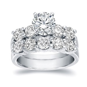 White Gold 3 1/2ct TDW Certified Round-cut Diamond Bridal Ring Set - Custom Made By Yaffie™