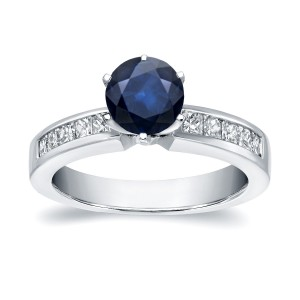 White Gold 3/4ct Blue Sapphire and 1/2ct TDW Diamond Ring - Custom Made By Yaffie™