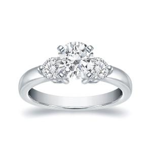 White Gold 3/4ct TDW 3 Stone Round Engagement Ring - Custom Made By Yaffie™