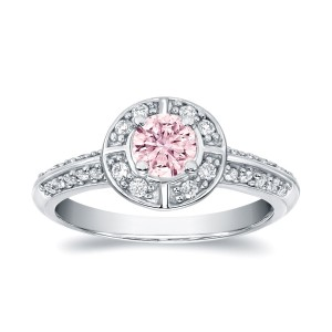 White Gold 3/4ct TDW Natural Fancy Pink Halo Diamond Engagement Ring - Custom Made By Yaffie™