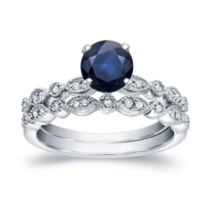 White Gold 3/5ct Blue Sapphire and 1/6ct Vintage Style Bridal Ring Set - Custom Made By Yaffie™