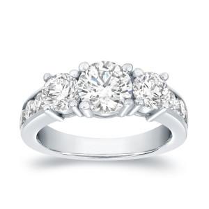 White Gold 3ct TDW Round Diamond 9-stone Ring - Custom Made By Yaffie™